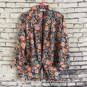 Lush Floral Open Front Bed Jacket